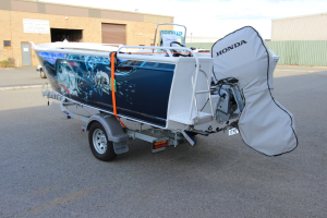 Honda BF90 outboard storage and towing cover.