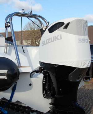 Suzuki DF350 white vented outboard Splash covers.