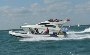 Yamaha F300 Vented outboard Splash cover in action