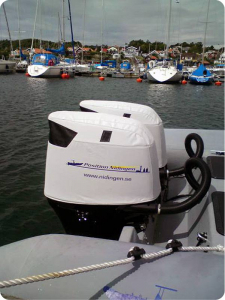 Suzuki DF250 branded pair of Vented outboard Splash covers in Sweden.