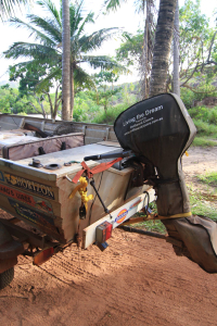 Outboard storage and towing cover.
