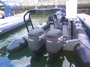 Suzuki GB Demo Boat DF90 vented outboard Splash cover.