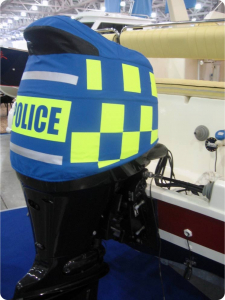 Suzuki DF140 vented outboard cover on a Russian police boat.